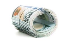 100 долларов на белой предпосылке Стоковая Фотография RF