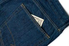 100 долларов счета в карманн Стоковая Фотография RF