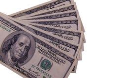 100 долларов счетов изолированных на белизне Стоковые Фотографии RF
