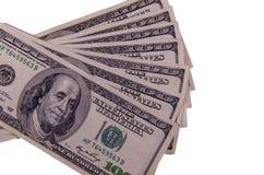 100 долларов счетов изолированных на белизне Стоковое Фото