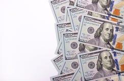 100 долларов США изолированных на белой предпосылке Стоковые Фотографии RF