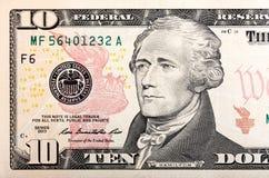 10 долларов части счета u S деньги в макросе Стоковое Изображение RF