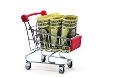 Доллары бумажных денег получают банкноту наличными в isola магазинной тележкаи вагонетки Стоковая Фотография RF