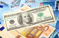 доллары верхней части евро Стоковое Изображение