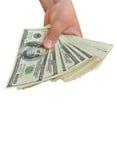 доллары вручают белизну Стоковые Фото