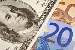доллары евро США конца Стоковое Фото