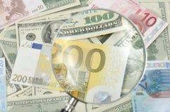 доллары евро Стоковые Фотографии RF