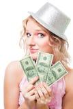 доллары женщины волшебника Стоковое Фото