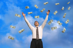 доллары идти дождь стоковая фотография