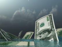 доллары идут вниз Стоковые Изображения
