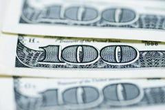 Доллары концепции крупного плана Американские доллары денег наличных денег доллар 100 одно кредиток Стоковое Изображение