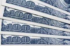 Доллары концепции крупного плана Американские доллары денег наличных денег доллар 100 одно кредиток Стоковые Фото