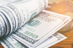 Доллары концепции крупного плана 100 финансов денег наличных денег доллара Стоковое Фото