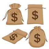 Доллары коричневого цвета сумки денег на белой предпосылке иллюстрация вектора
