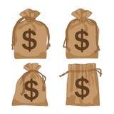 Доллары коричневого цвета сумки денег иллюстрация вектора