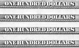 доллары кредиток 100 одного рядка Стоковое Фото