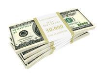 доллары над белизной стога Стоковые Фотографии RF