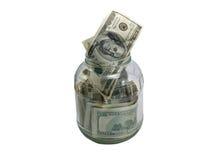доллары опарника стекла Стоковые Фотографии RF