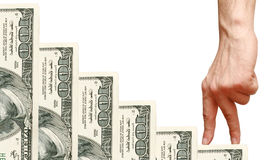 доллары перстов идут лестницы вверх Стоковое Изображение