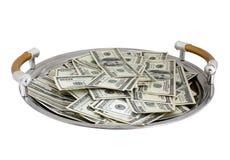 доллары подноса вороха Стоковые Изображения