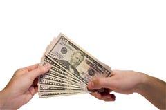 доллары руки Стоковая Фотография RF