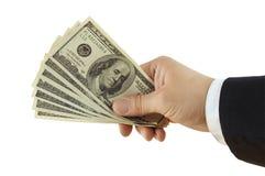доллары руки Стоковые Фото