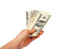 доллары рук женщины Стоковые Фото