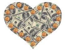 доллары сердца стоковые фотографии rf