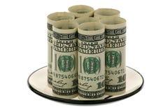 доллары стеклянного поддонника мы стоковые фото
