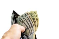 Доллары счета в бумажнике Стоковое Фото