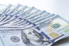 Доллары, фото крупного плана 100 банкнот доллара Стоковая Фотография