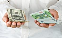 доллары человека евро Стоковое Изображение RF
