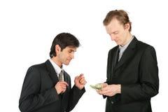 доллары 2 бизнесменов стоковое изображение rf