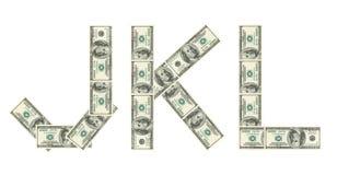 доллары j k l сделанных пем Стоковое фото RF