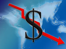доллар вниз Стоковые Изображения