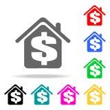 доллар в значке дома Элементы недвижимости в multi покрашенных значках Наградной качественный значок графического дизайна Простой иллюстрация штока