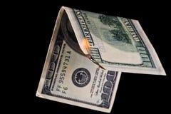 доллар кредитки горящий Стоковые Фото