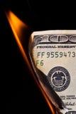 доллар кредитки горящий Стоковое Фото