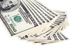 доллар кредиток предпосылки изолированный над белизной Стоковые Фотографии RF