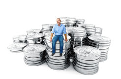 доллар монетки бизнесмена сидит Стоковая Фотография RF