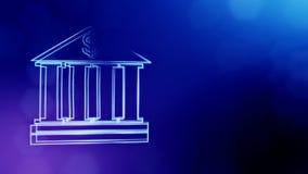 Доллар подписывает внутри эмблему банка Предпосылка финансов светящих частиц анимация seamleass 3D с глубиной поля иллюстрация вектора