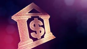 Доллар подписывает внутри эмблему банка Предпосылка финансов светящих частиц анимация петли 3D с глубиной поля, bokeh иллюстрация штока