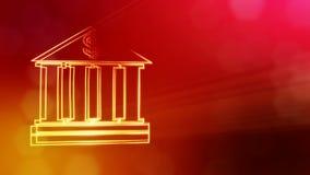 Доллар подписывает внутри эмблему банка Предпосылка финансов светящих частиц анимация seamleass 3D с глубиной поля бесплатная иллюстрация