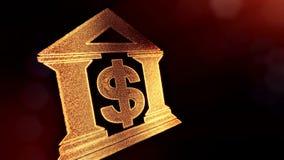 Доллар подписывает внутри эмблему банка Предпосылка финансов светящих частиц анимация петли 3D с глубиной поля, bokeh иллюстрация вектора