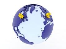 Доллар против евро глобального Стоковые Фото