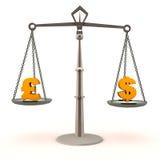 Доллар против фунта Стоковые Изображения