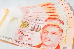Доллар Сингапура, банкнота Сингапур на белой предпосылке Стоковое фото RF