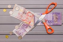 Доллар Сингапура и монетки na górze валюты малайзийского ринггита Стоковые Фото
