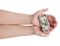 доллар счета вручает его Стоковое фото RF