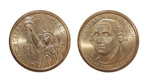 Доллар США Джордж Вашингтон монетки одного Стоковое Фото